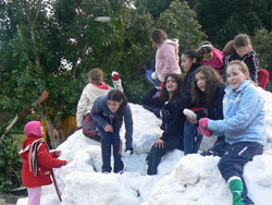 Snow at Kibbutz Nir-Am